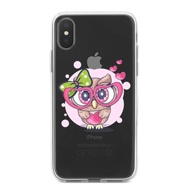 Lopard iPhone Xs Max Kılıf Silikon Arka Koruma Kapak Sevimli Baykuş Desenli Renkli